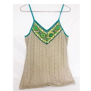 Boho Nude Beaded Knit Camisole Tank Tunic Blouse L